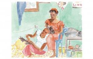 Nouakchott Market Mauritania Hairdresser Stunning Painting Postcard