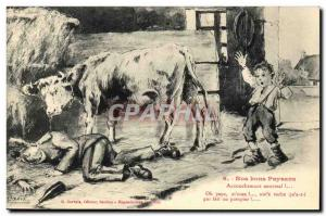 Old Postcard Our good peasants abnormal Childbirth! Cow