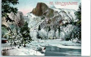 Yosemite National Park Postcard 5050. Winter Scene Half Dome View CVC c1910s