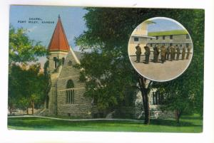 Chapel, Fort Riley, Kansas unused Kropp Postcard with Soldiers inset