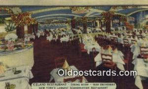 Linen, Iceland Restaurant, New York City, NYC Postcard Post Card USA Old Vint...