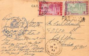 French Guiana #148-149, on Saint Georges Postcard, used in 1943 to Trinidad