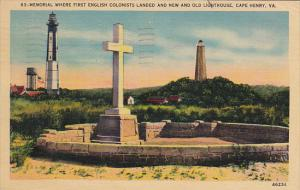 New and Old Lighthouse with Memorial Where 1st English Colonists Landed Cape ...