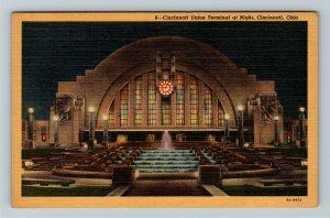 Cincinnati OH-Ohio, Union Terminal at Night, Vintage Linen c1940 Postcard