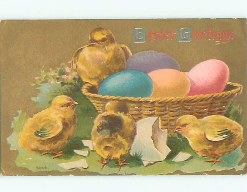 Unused Pre-Linen easter CHICKS WITH COLORED EGGS IN BASKET k2015