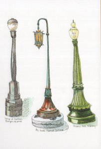 Bay Area Streetlights San Fransisco California Sketch Painting Postcard