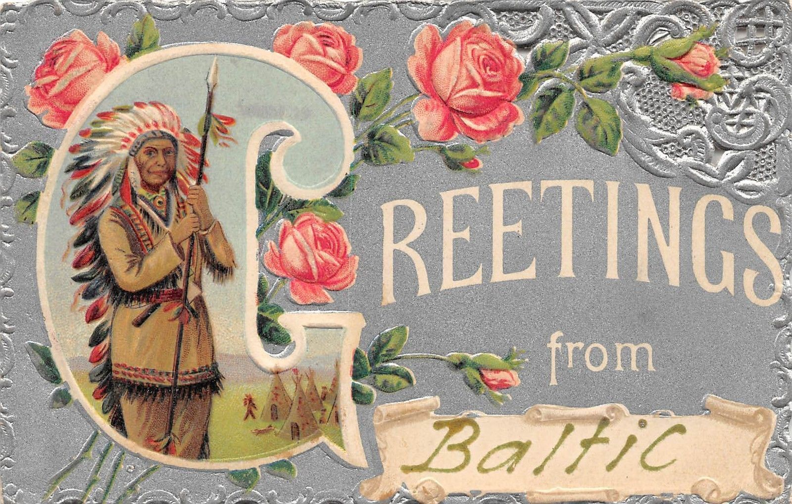 B61 Baltic Ohio Postcard 1910 Greetings From Baltic Native American