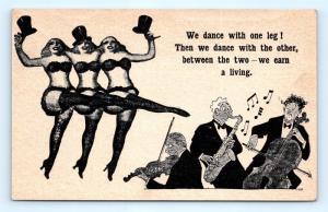 Postcard Risque Comic Burlesque Dance On Legs Earn Living Between Them J14