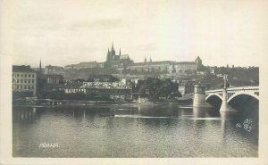 Postcard Czech Republic Prague old town hill view