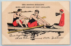 Postcard MA Boston Heralds Boys Girls New England Rowing Jack Lorimer Rowers T1
