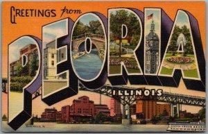 Vintage PEORIA, Illinois Large Letter Postcard Cedar Street Bridge Linen 1950