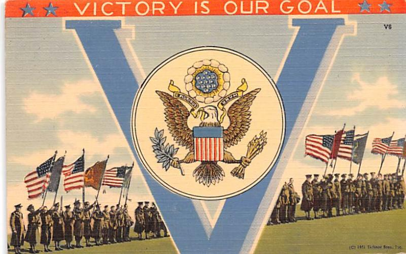 Patriotic Post Card Old Vintage Antique Postcard Victory is Our Goal, Victory...