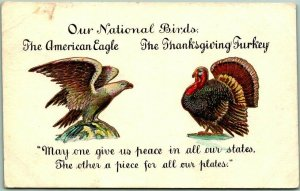 1909 THANKSGIVING Greetings Postcard Our National Birds Bald Eagle / Turkey