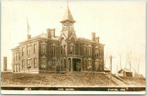 STANTON, Nebraska RPPC Photo Postcard HIGH SCHOOL Building View 1909 Cancel
