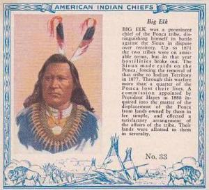 Red Man Chewing Tobacco American Indian Chiefs No 33 Big Elk Ponca Tribe