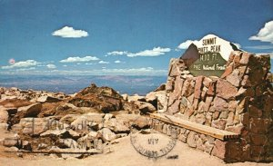 Summit Sign at Pikes Peak, Colorado, CO, 1971 Chrome Vintage Postcard g8390