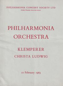 Christa Ludwig Otto Klemperer 1963 London Classical Theatre Programme