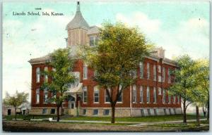 Iola, Kansas Postcard LINCOLN  SCHOOL Building View w/ 1910 Unused