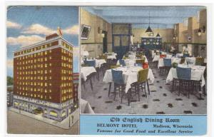 Old English Dining Room Belmont Hotel Madison Wisconsin postcard