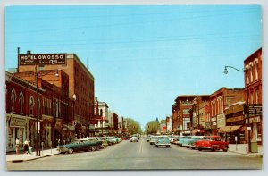 Owosso Michigan~Washington Street~Hotel~JC Penney~Dry Cleaners~1950s Cars~PC