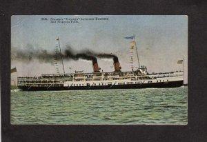 Steamer Steamship Cayuga Ship Toronto to Niagara Falls Ontario Carte Postale ON