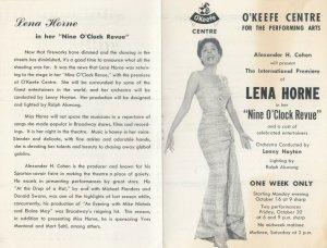 TORONTO , Ontario , 1960s ; Lena Horse at O'Keefe Centre for arts