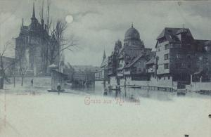 Blue Tint: Gruss aus NURNBERG, Bavaria, Germany; Bridge, 00-10s