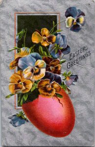 Red Easter egg of pansies silver textured faux fabric background sent 1910Ê