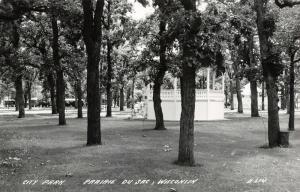 Prairie du Sac Wisconsin~City Park Gazebo~Trailers Thru Trees~1950s RPPC