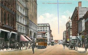 1910 Third Street Trolleys Portland Oregon Edward Mitchell postcard 10466