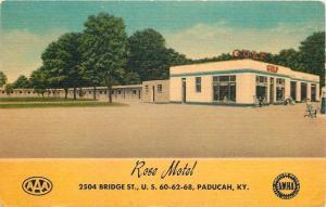 Paducah Kentucky~Rose Motel Motor Court~Full Service Gulf Gas Station~1952 Linen