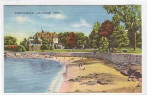 Bathing Beach Bar Harbor Maine linen postcard