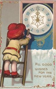 Tuck New Year Series Child On Ladder with Clock 1909
