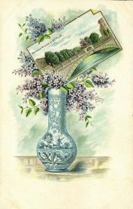 germany, BERLIN, Hercules Brücke, Litho Postcard with Flower Vase (1899)