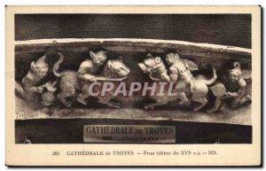 Postcard Old Troyes Cathedral Friesland