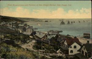 San Diego CA Fort Rosencrans & Harbor SHIPS c1910 Postcard