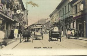 philippines, MANILA, Escolta, Street Scene with Horse Carts (1905) RPPC Postcard