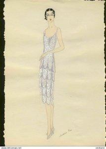 ORIGINAL ART hand drawn ART DECO 1920s woman's fashion #5 MODE