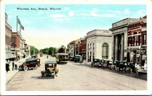 Neenah WI~Wisconsin Avenue~Drug Store~Bank~Vintage Cars~Trolley~1920s Postcard