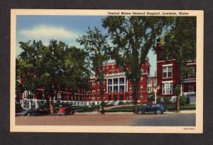 ME Central Maine General Hospital Lewiston Maine Linen Postcard PC Vintage