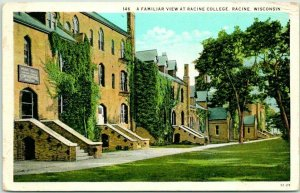 RACINE, Wisconsin Postcard A Familiar View at RACINE COLLEGE c1930s Curteich