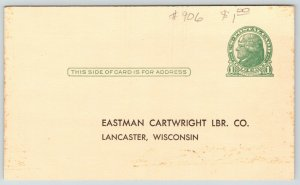 Lancaster Wisconsin~Eastman Cartwright Lumber Co~Nutrena Hog Balancer~1940s Adv