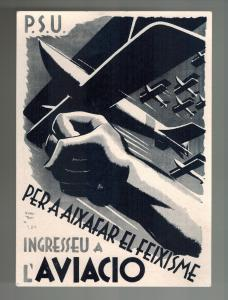 Mint Spain Civil War Postcard PSU Military Aviation to Fight Fascism