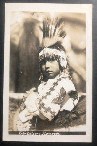 Mint Canada RPPC Postcard Native American Indian Calgary Stampede Indian Boy Por