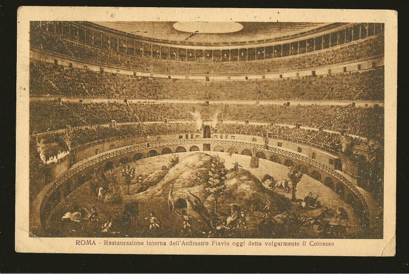 Italy Postmarked 1923 Roma Colosseo Postcard