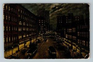 Kansas City MO-Missouri, Main Street, At Night, Moon Vintage c1914 Postcard