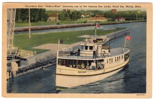 Sault Ste. Marie, Mich, Excursion Boat Ride-a-Wee Entering the Soo Locks S