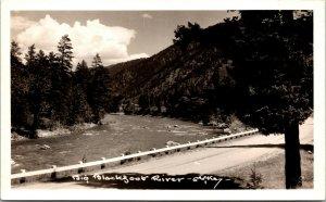Vtg 1940 Big Blackfoot River Near Missoula Montanta MT RPPC Real Photo Postcard