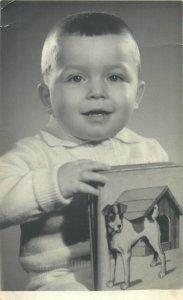 Postcard children portrait social history toys communion studio early baby puppy