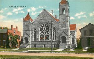 Oberlin Ohio~First Methodist Episcopal Church~House Next Door 1910 Postcard
